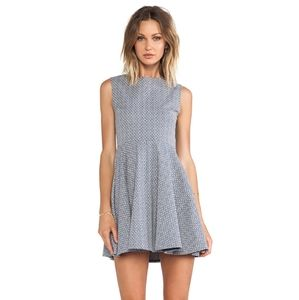 DVF Jeannie Fit and Flare Dress in Blue/Cr…